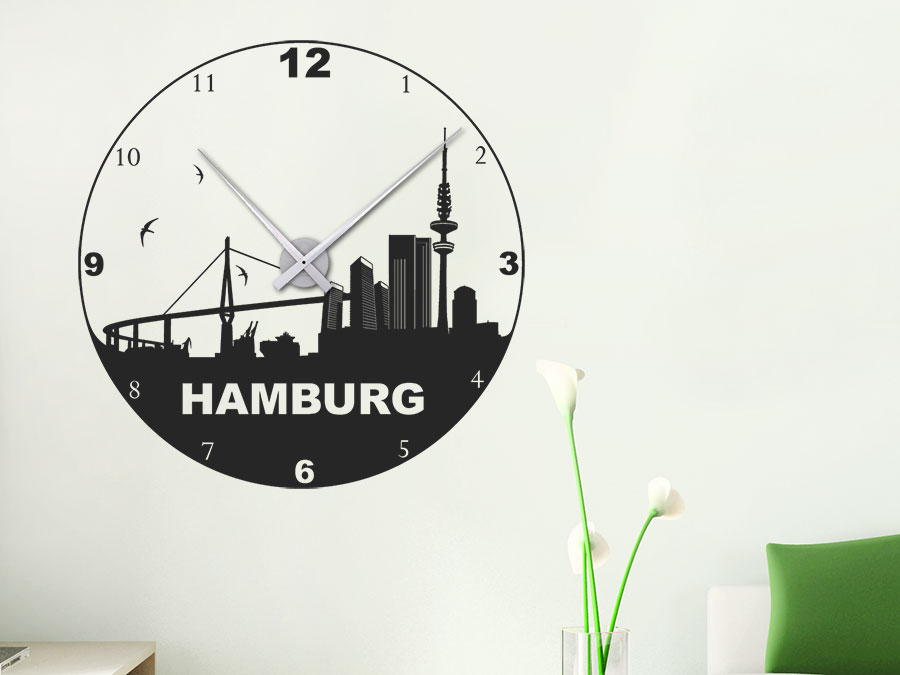 wandtattoo uhr hamburg wanduhr hamburg skyline wandtattoo de. Black Bedroom Furniture Sets. Home Design Ideas