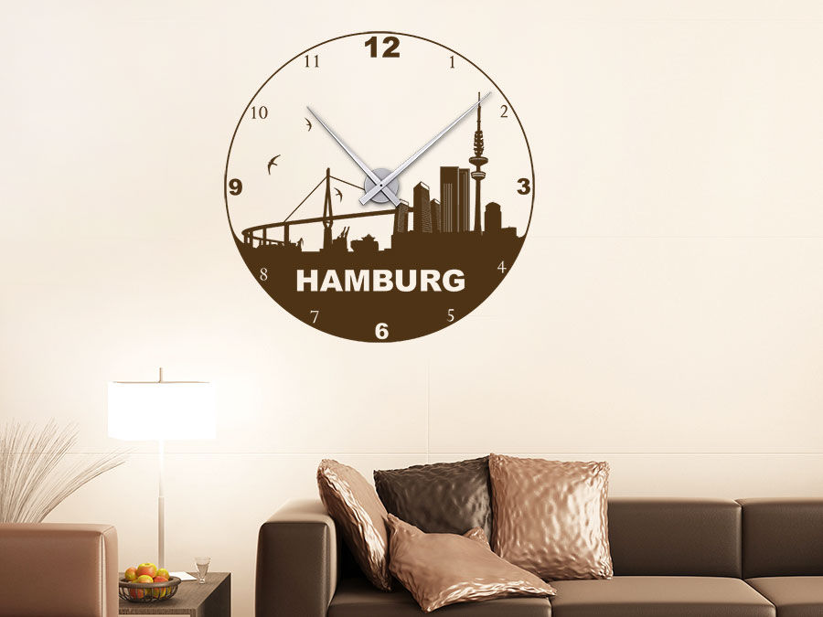 wandtattoo uhr hamburg wanduhr hamburg skyline | wandtattoo.de, Design ideen