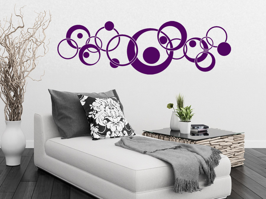 wandtattoo ornament retro circles wandtattoo de. Black Bedroom Furniture Sets. Home Design Ideas
