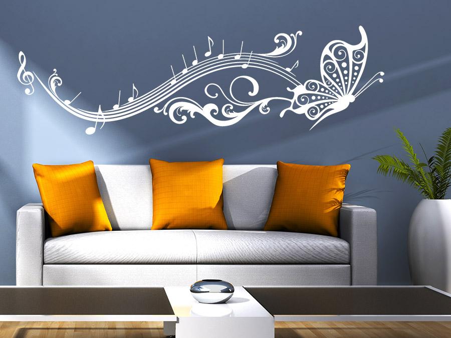 Wandtattoo Noten Schmetterling Wandtattoo Noten Schmetterling Im Wohnzimmer  Musik Wandtattoo Noten Schmetterling In Weiß
