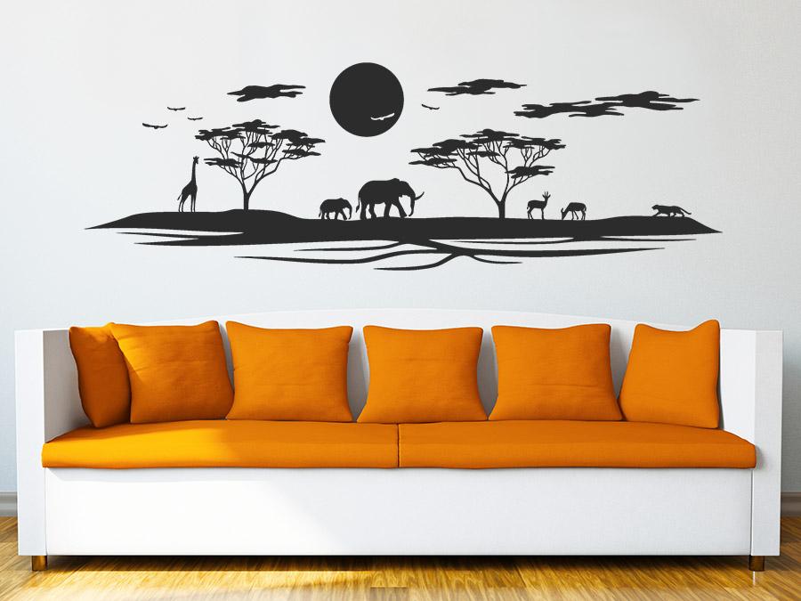 Wandtattoo afrikanische landschaft skyline wandtattoo de - Wandtattoo afrika tiere ...