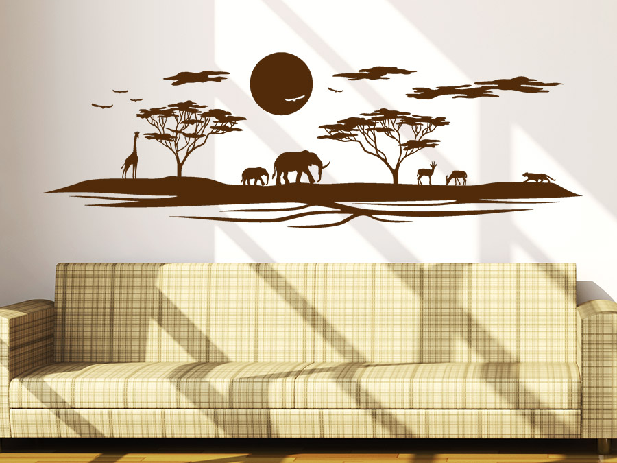 wandtattoo afrikanische landschaft skyline wandtattoo de. Black Bedroom Furniture Sets. Home Design Ideas