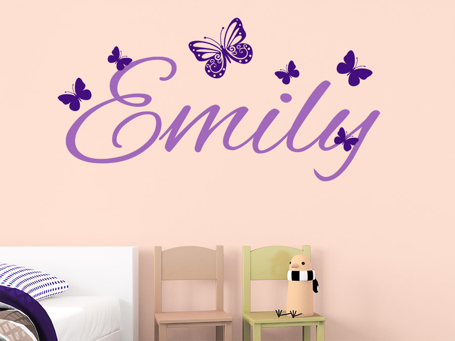 wandtattoo name mit schmetterlingen kindername wandtattoo de. Black Bedroom Furniture Sets. Home Design Ideas