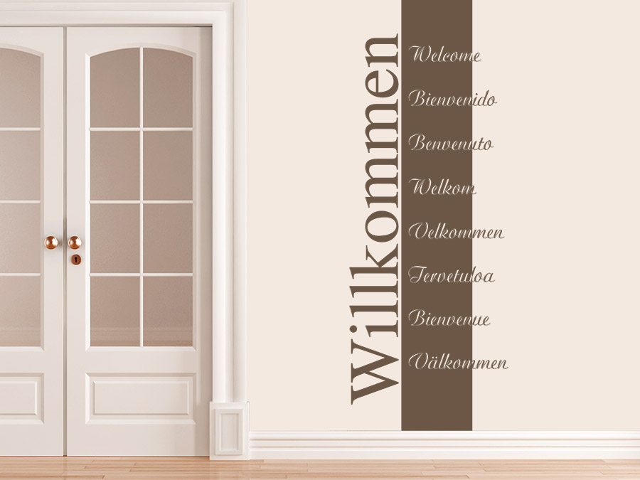 wandbanner willkommen wandtattoo mehrsprachig wandtattoo de. Black Bedroom Furniture Sets. Home Design Ideas