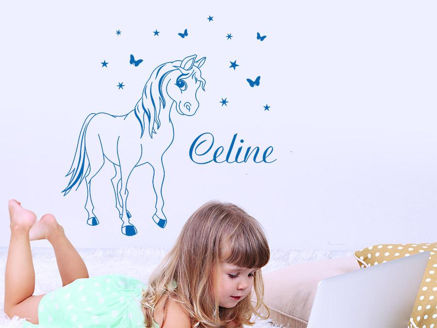 Wandtattoo Pony mit Name