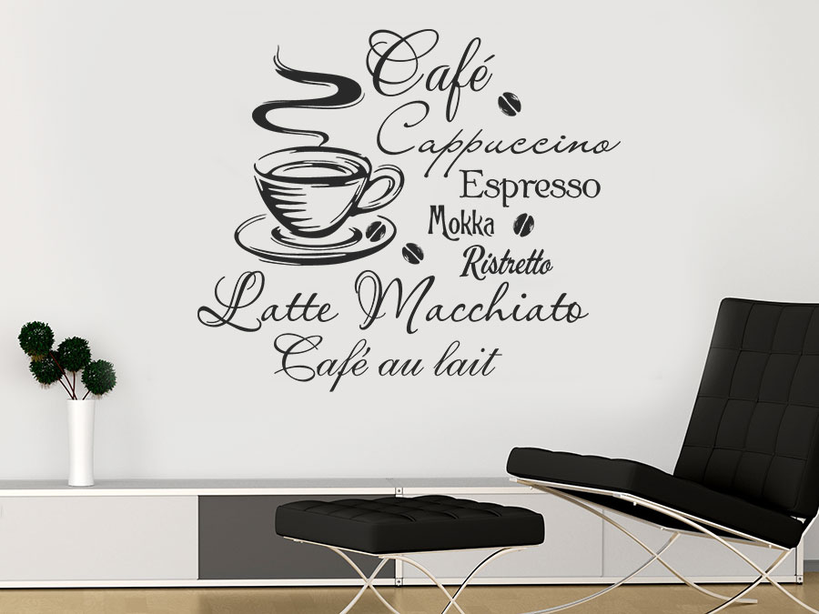 wandtattoo kaffee bei. Black Bedroom Furniture Sets. Home Design Ideas