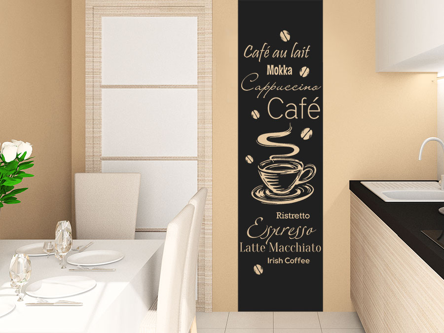 wandtattoo kaffee banner kaffeesorten von. Black Bedroom Furniture Sets. Home Design Ideas