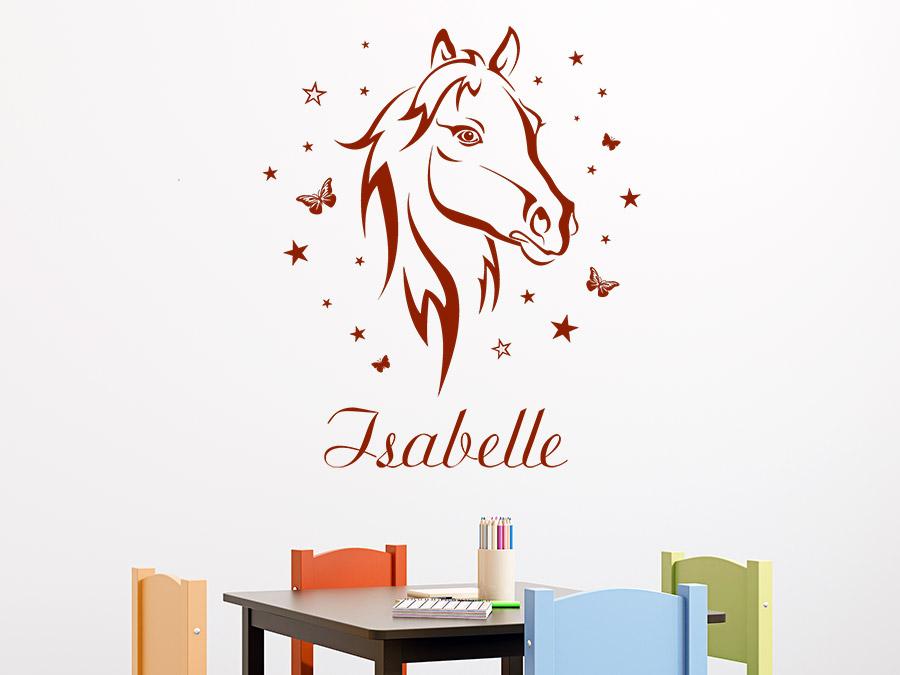 wandtattoo pferd mit schmetterlingen und name bei. Black Bedroom Furniture Sets. Home Design Ideas