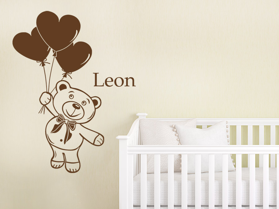 wandtattoo teddy mit name teddyb r kindername wandtattoo de. Black Bedroom Furniture Sets. Home Design Ideas