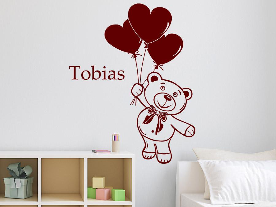 wandtattoo teddy mit name teddyb r kindername wandtattoo de. Black Bedroom Furniture Sets. Home Design Ideas