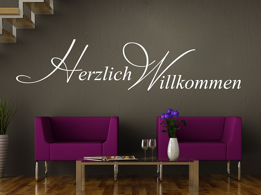 wandtattoo herzlich willkommen reuniecollegenoetsele. Black Bedroom Furniture Sets. Home Design Ideas