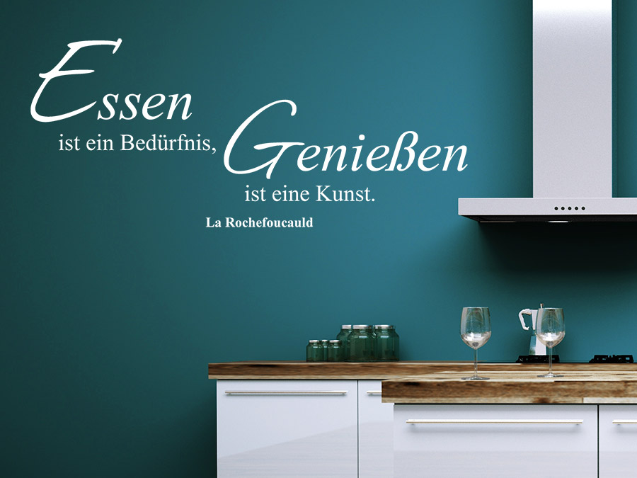 wandtattoo essen und genie en zitat wandtattoo de. Black Bedroom Furniture Sets. Home Design Ideas