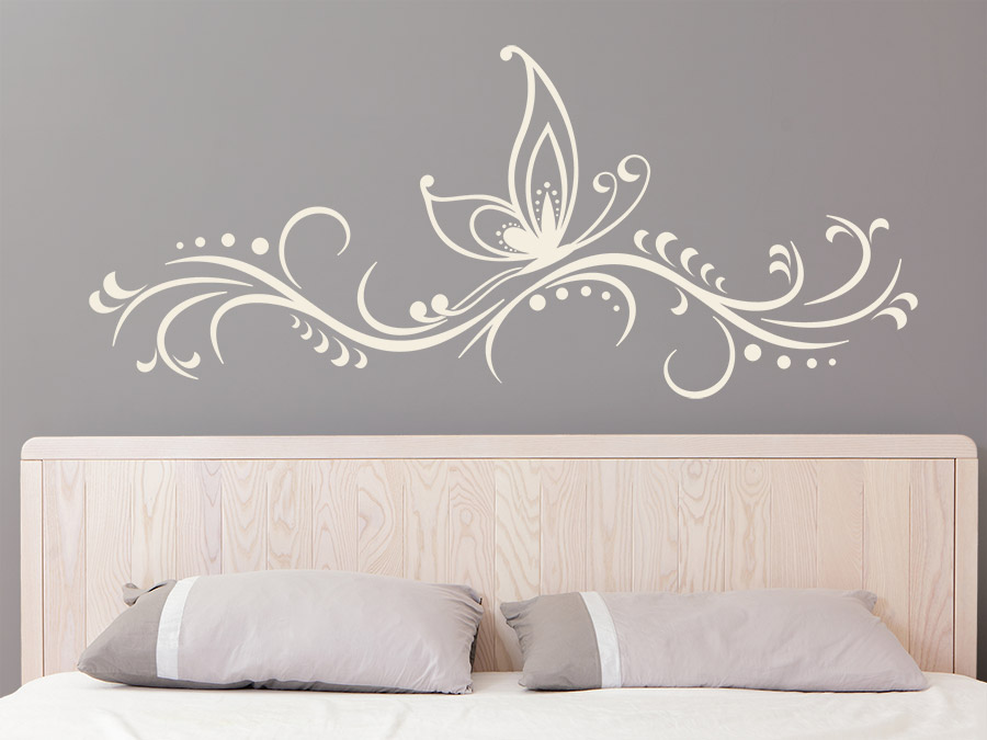 Wandtattoo ornament mit schmetterling wandtattoo de - Schmetterlinge an der wand ...
