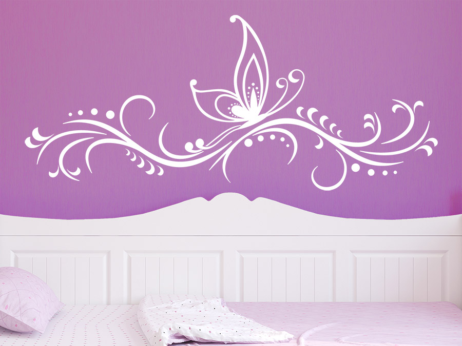 wandtattoo ornament mit schmetterling wandtattoo de. Black Bedroom Furniture Sets. Home Design Ideas