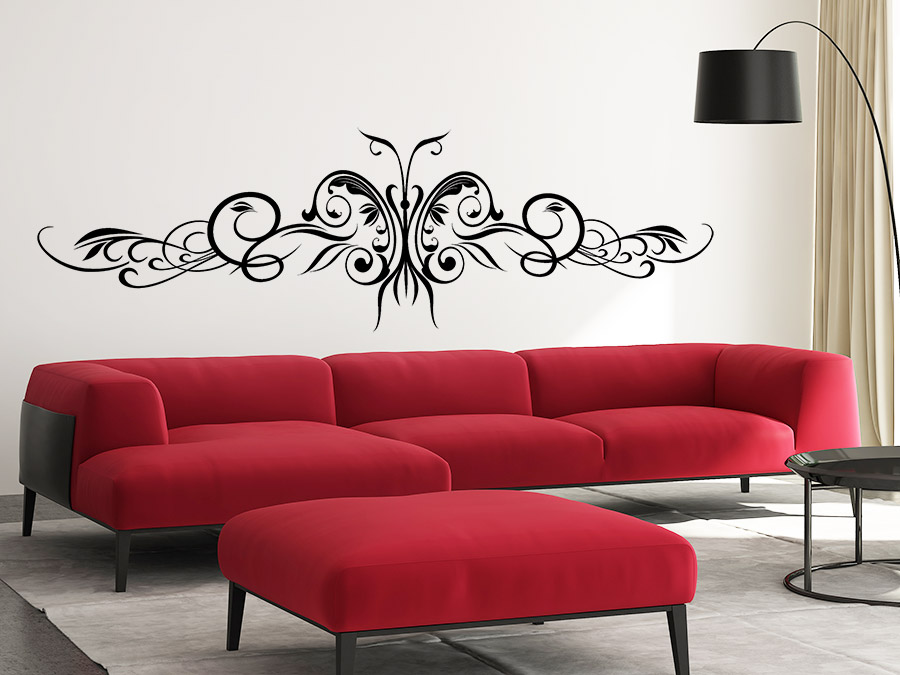 wandtattoo schmetterlingsornament mit schn rkeln. Black Bedroom Furniture Sets. Home Design Ideas
