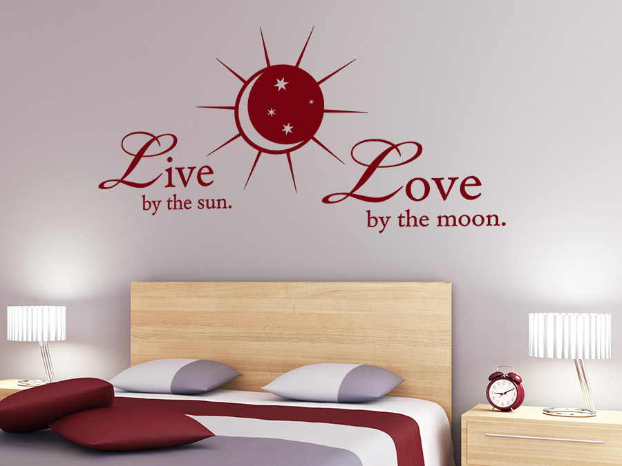 wandtattoo live by the sun spruch von. Black Bedroom Furniture Sets. Home Design Ideas