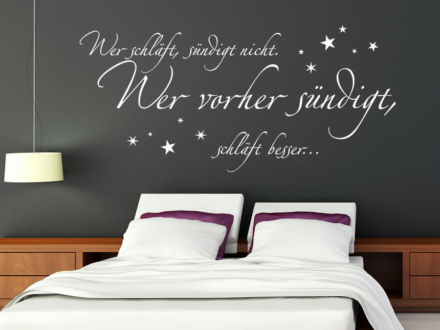 wandtattoo wer schl ft s ndigt besser vorher. Black Bedroom Furniture Sets. Home Design Ideas