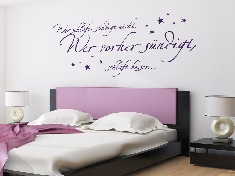 wandtattoo wer schl ft s ndigt besser vorher wandtattoo de. Black Bedroom Furniture Sets. Home Design Ideas