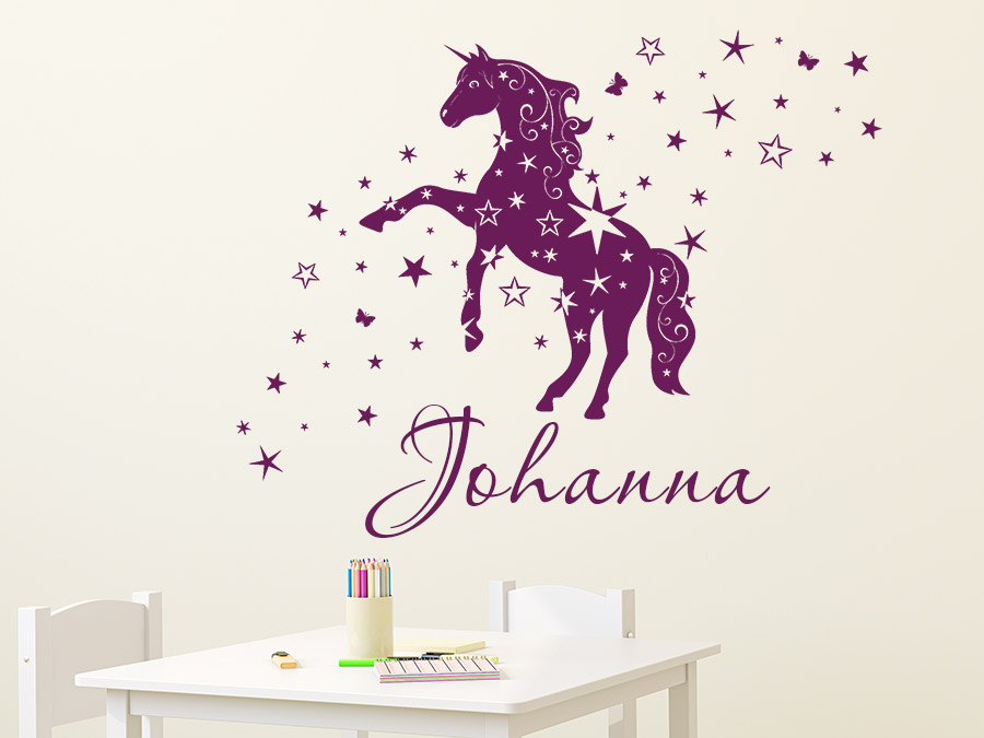 wandtattoo einhorn mit sternen und name wandtattoo de. Black Bedroom Furniture Sets. Home Design Ideas