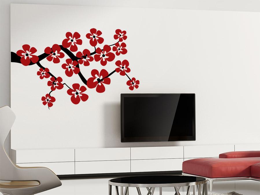 wandtattoo zweifarbiger ast mit bl ten wandtattoo de. Black Bedroom Furniture Sets. Home Design Ideas