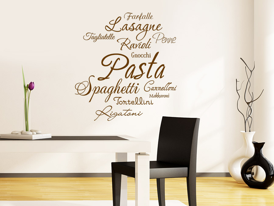 wandtattoo pasta sorten italienisch essen wandtattoo de. Black Bedroom Furniture Sets. Home Design Ideas