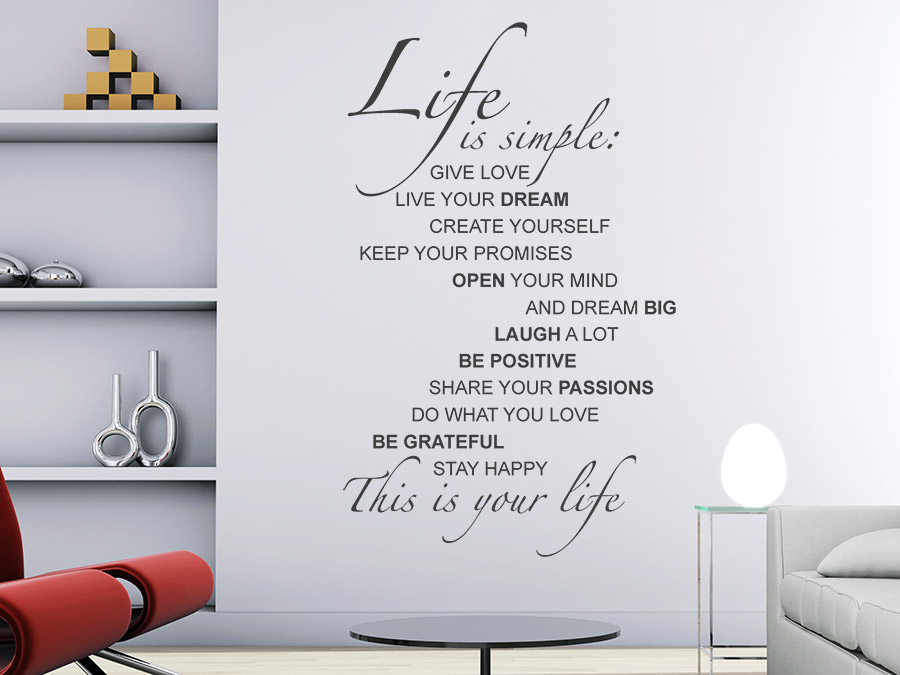 Wandtattoo life is simple spruchbanner wandtattoo de for Jugendzimmer englisch