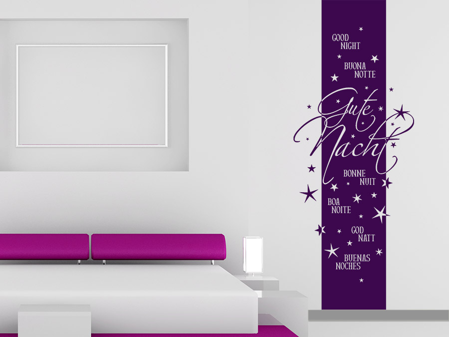 wandtattoo banner gute nacht mehrsprachig bei. Black Bedroom Furniture Sets. Home Design Ideas