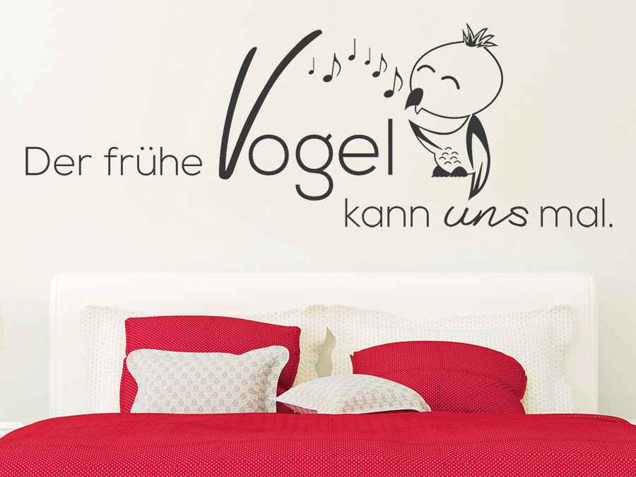 wandtattoo der fr he vogel kann uns mal bei. Black Bedroom Furniture Sets. Home Design Ideas