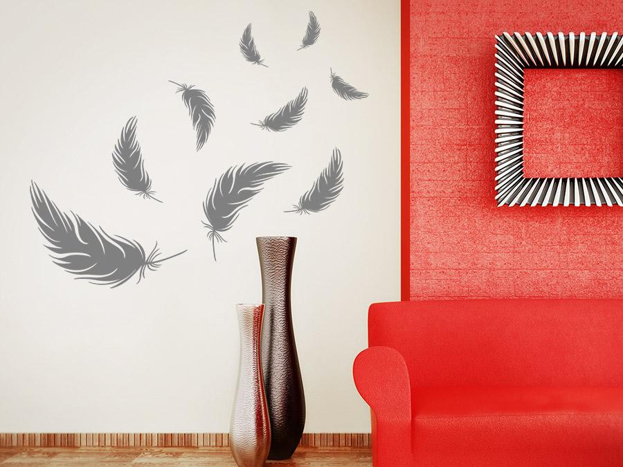 wandtattoo federn set wandtattoo de. Black Bedroom Furniture Sets. Home Design Ideas