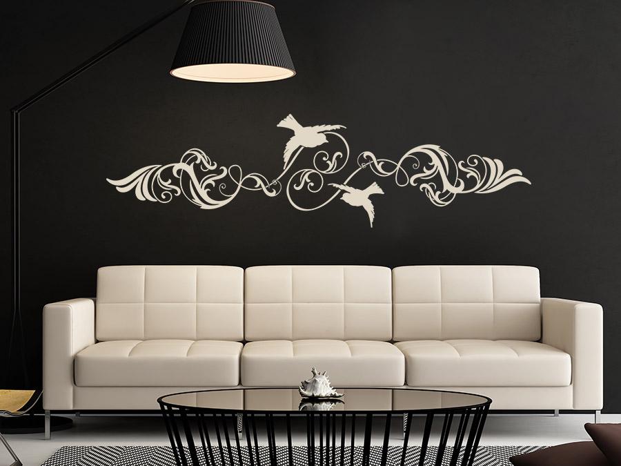 wandtattoo ornament mit v geln wandtattoo de. Black Bedroom Furniture Sets. Home Design Ideas