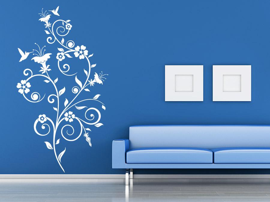 wandtattoo bl ten ornament mit kolibri wandtattoo de. Black Bedroom Furniture Sets. Home Design Ideas