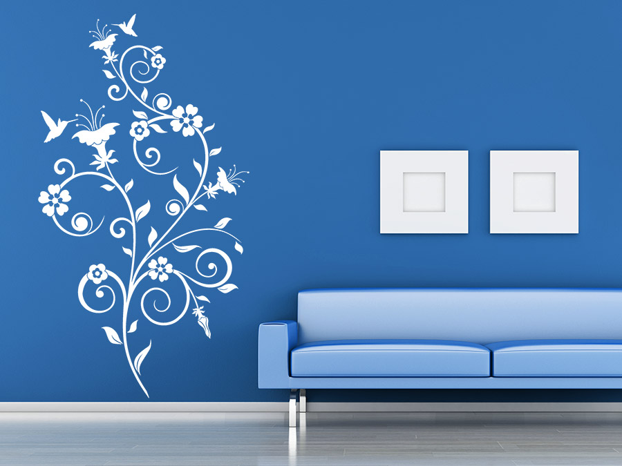 wandtattoo bl ten ornament von. Black Bedroom Furniture Sets. Home Design Ideas