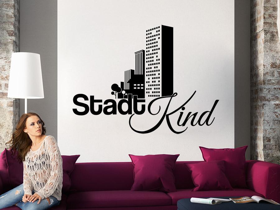 Wandtattoo Stadtkind Wandtattoo Stadtkind In Schwarz Im Wohnzimmer ...