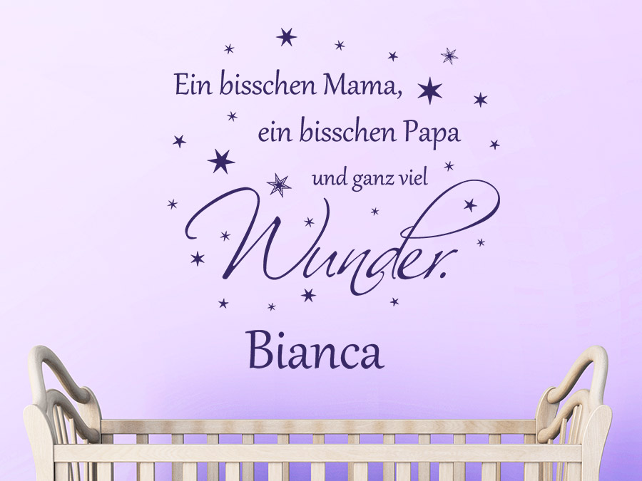 wandtattoo ein bisschen mama papa mit name bei. Black Bedroom Furniture Sets. Home Design Ideas