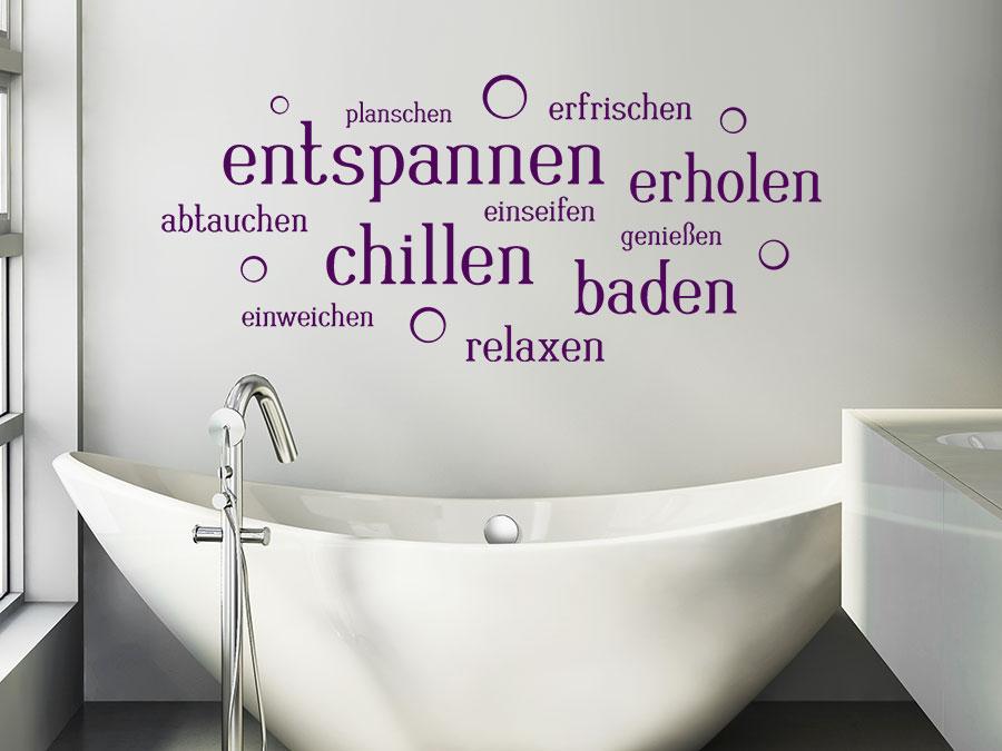 Wellness sprüche gutschein  Wandtattoo Entspannen Wortwolke mit Seifenblasen | WANDTATTOO.DE