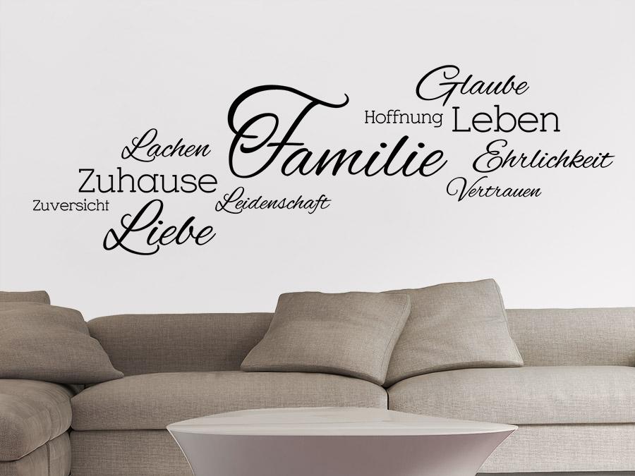 wandtattoo familie wortwolke wandtattoo de. Black Bedroom Furniture Sets. Home Design Ideas