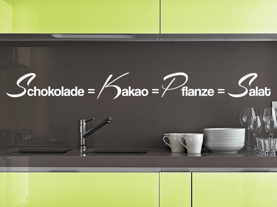 Wandtattoo Schokolade ist gleich Salat bei Homesticker.de