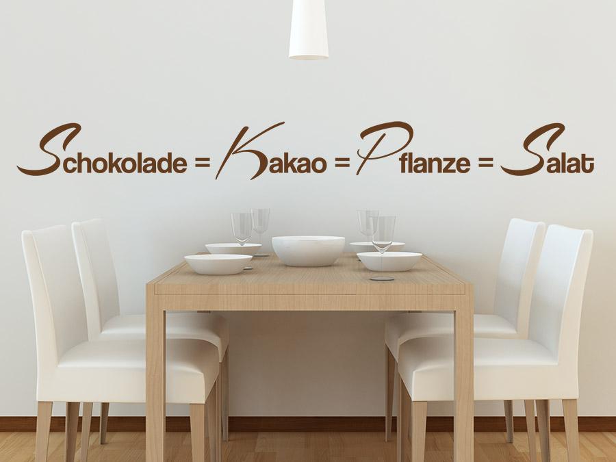 wandtattoo schokolade ist gleich salat bei. Black Bedroom Furniture Sets. Home Design Ideas