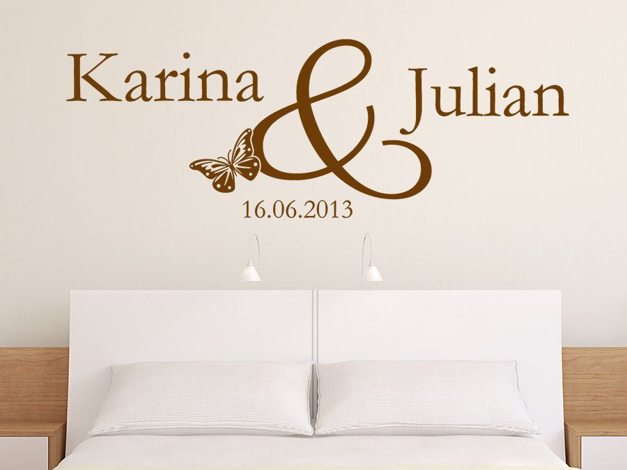 Wandtattoo Namen mit Hochzeitsdatum