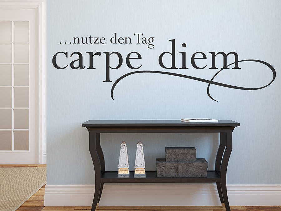 wandtattoo carpe diem nutze den tag von. Black Bedroom Furniture Sets. Home Design Ideas
