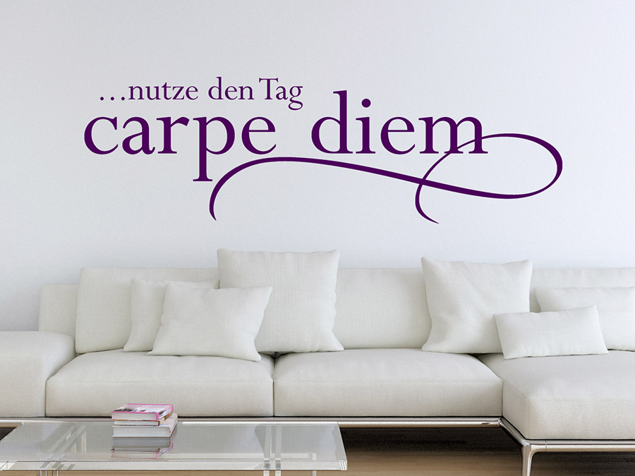 Wandtattoo Carpe Diem ...nutze Den Tag | Wandtattoo.de Wohnzimmergestaltung Mit Wandtattoo