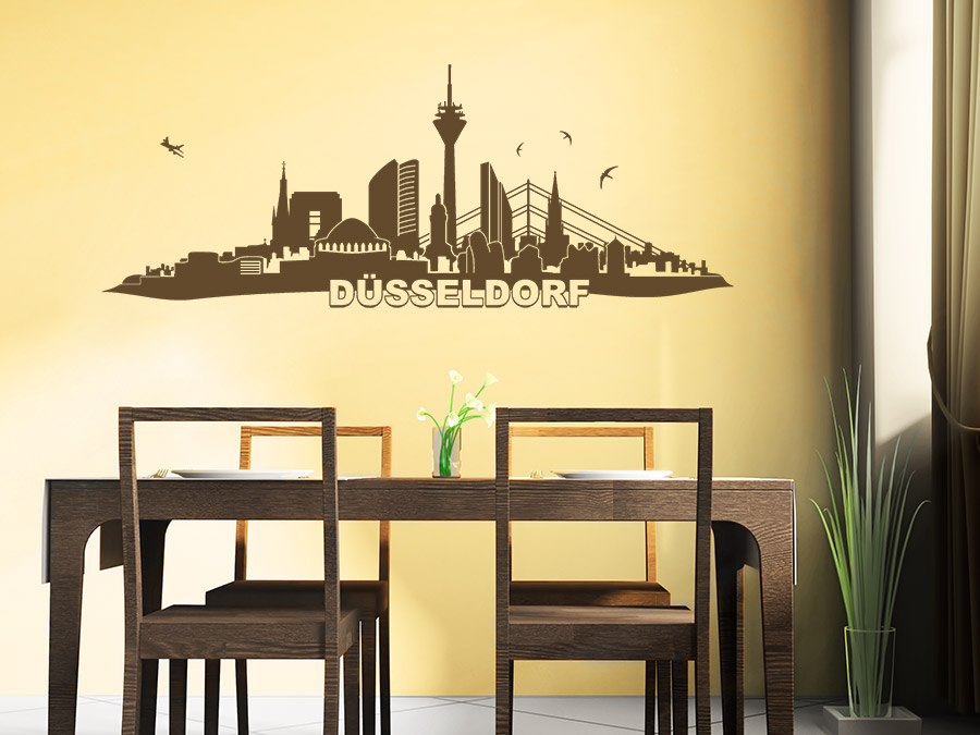 wandtattoo skyline d sseldorf bei. Black Bedroom Furniture Sets. Home Design Ideas