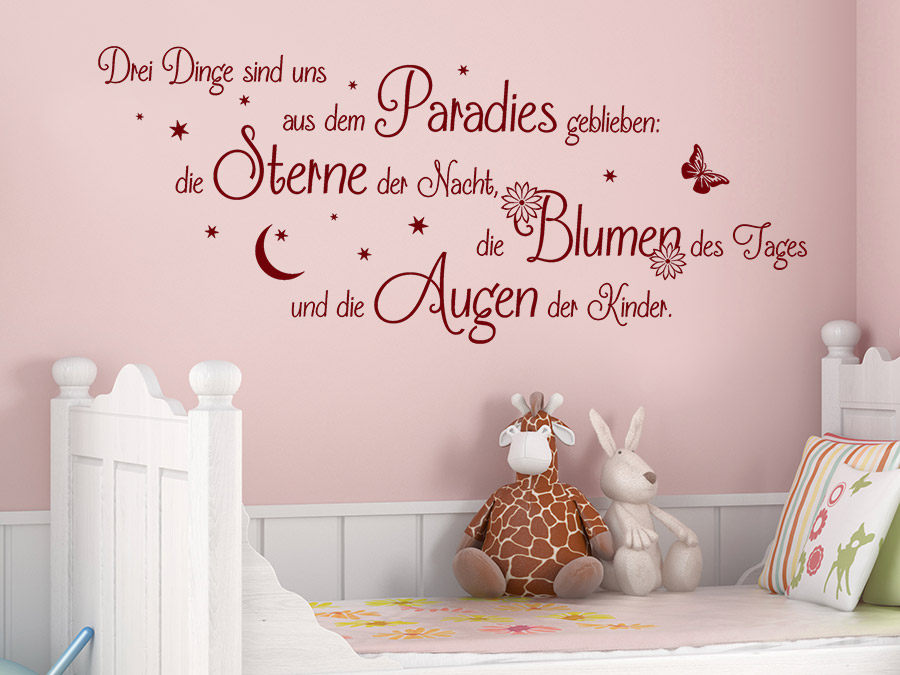 wandtattoo drei dinge baby spruch von. Black Bedroom Furniture Sets. Home Design Ideas
