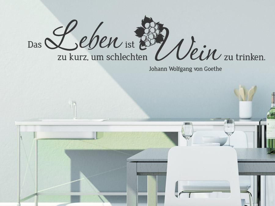 wandtattoo leben und wein zitat mit weintrauben | wandtattoo.de - Wandtattoos Küche Esszimmer