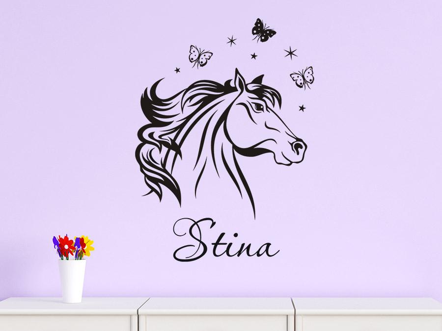 wandtattoo elegantes pferd mit name bei. Black Bedroom Furniture Sets. Home Design Ideas
