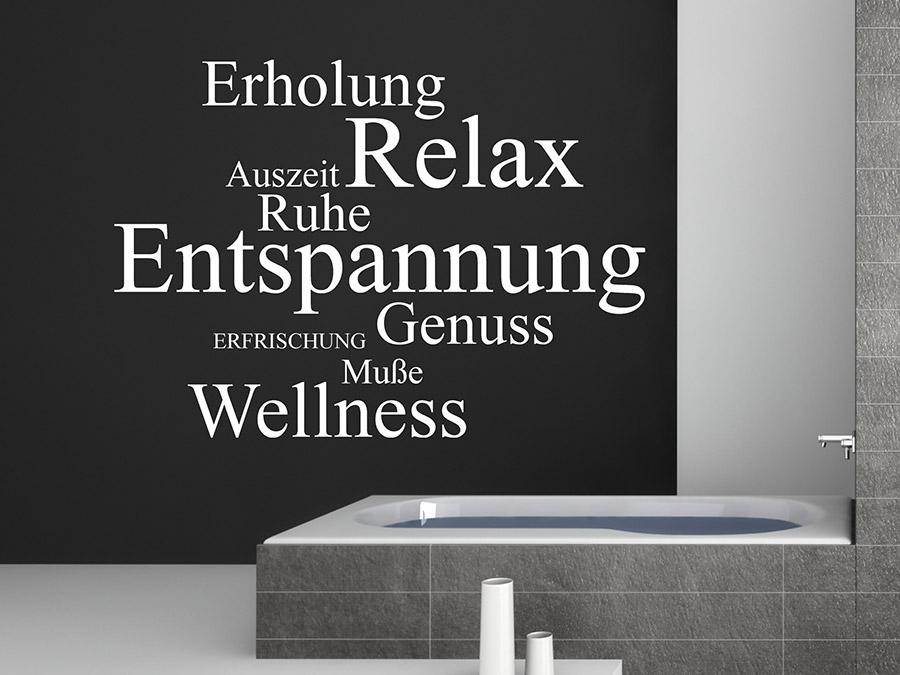 wandtattoo worte relax genuss wellness. Black Bedroom Furniture Sets. Home Design Ideas