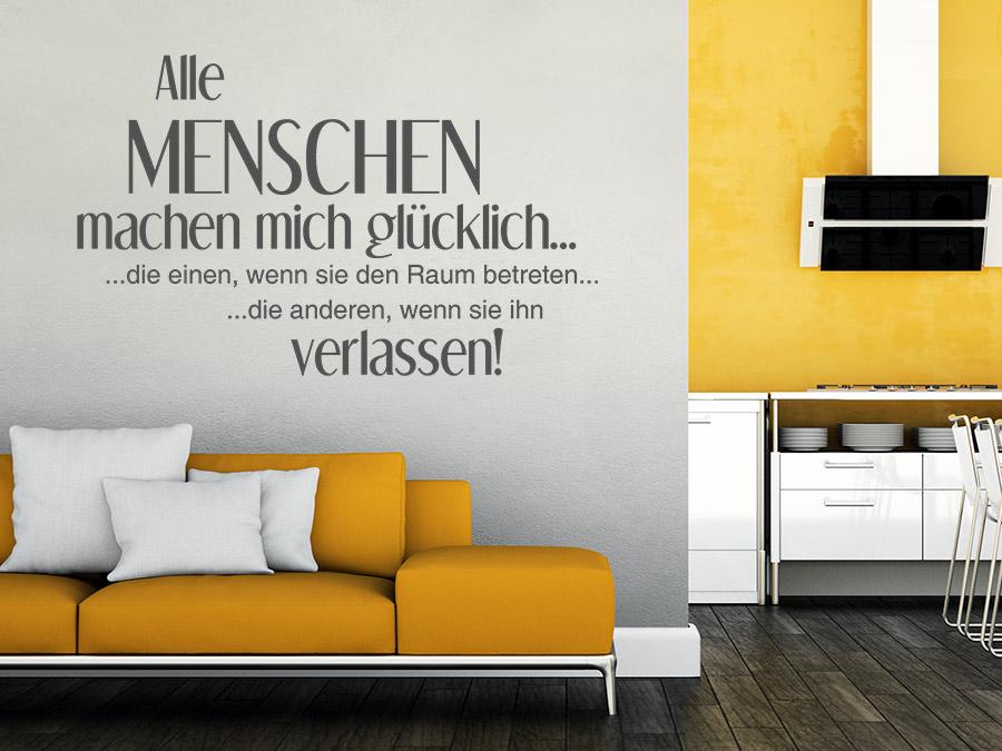 wandtattoo menschen machen mich gl cklich lustiger spruch bei. Black Bedroom Furniture Sets. Home Design Ideas