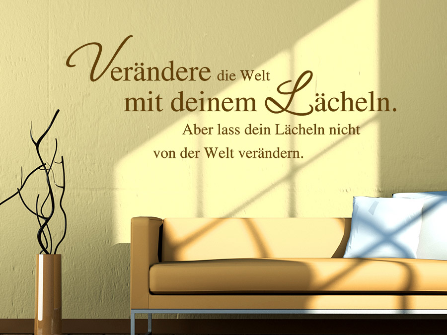 wandtattoo ver ndere die welt mit deinem l cheln bei. Black Bedroom Furniture Sets. Home Design Ideas
