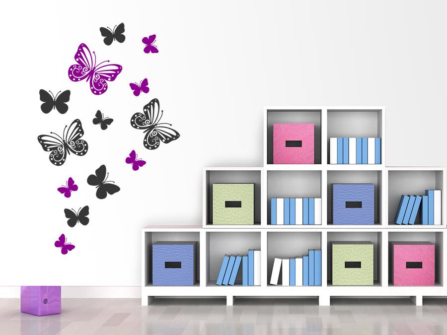 Schmetterlinge Set für eine bunte Wandgestaltung im Kinderzimmer