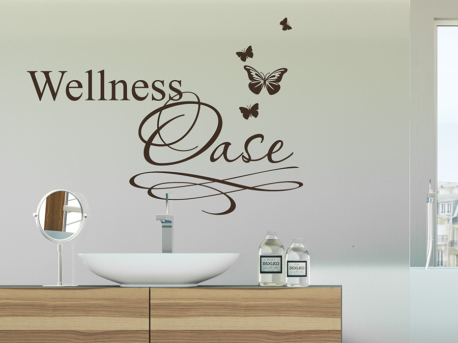 wandtattoo wellness oase mit schmetterlingen von. Black Bedroom Furniture Sets. Home Design Ideas